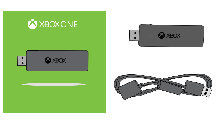 A drawing of the Xbox Wireless Adapter for Windows and the USB extender cable