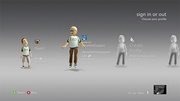 An Xbox profile is selected from the sign-in section on the Xbox 360 console.