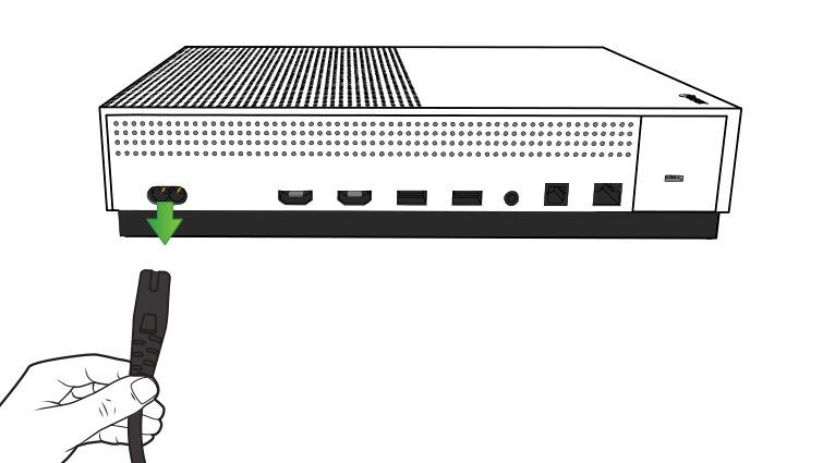 Illustration of the back of the Xbox One S with the power cord being unplugged