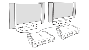 An illustration shows two Xbox consoles and TVs side by side. The consoles are connected to each other and separately to the TVs.