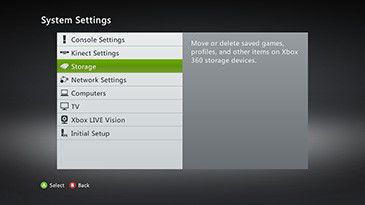 The System Settings screen with the Storage option highlighted