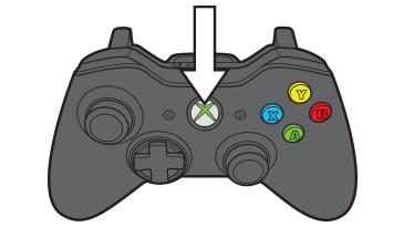 Une flèche pointe vers la touche Guide de la manette Xbox360.