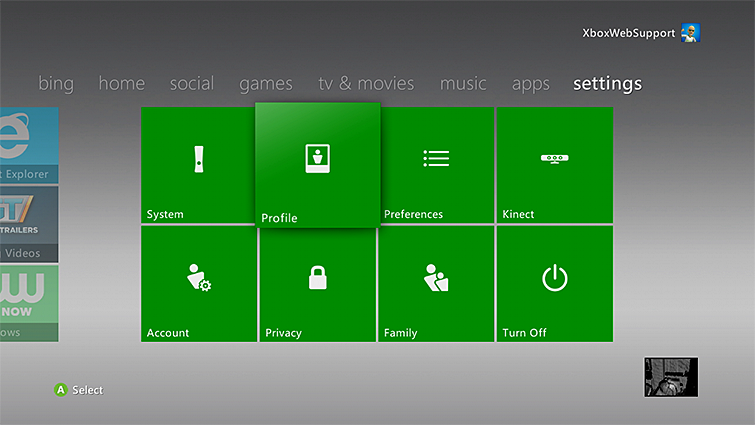 The Profile tile is selected from the settings tab on the Xbox 360 console.
