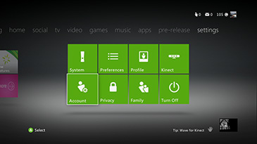 Skærmen Account under fanen settings på Xbox 36-konsollen.