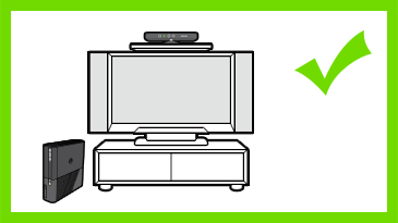 A Kinect sensor is mounted just above the center of a TV. A check mark is next to the image.
