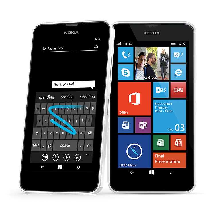 Two white Lumia 635 phones with start screen and WordFlow keyboard on screen