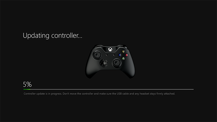 "The words ""Updating controller"" are displayed over a picture of the controller above a progress bar showing 5-percent complete."