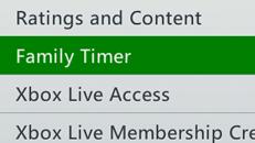 Nastavení rodinného časovače na konzoli Xbox360
