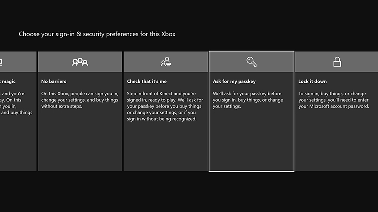 A selection of sign-in and security options are displayed, including 'No barriers', 'Check that it's me', and 'Ask for my passkey'.