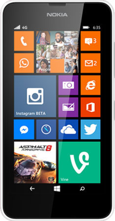 White Lumia 635 facing forward with start screen on display
