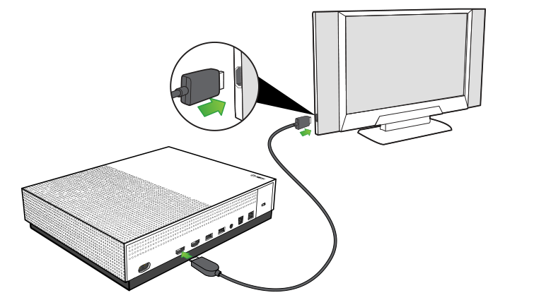 HDMI cable being plugged into the HDMI out port on the Xbox One S console and into the HDMI in port on a television.