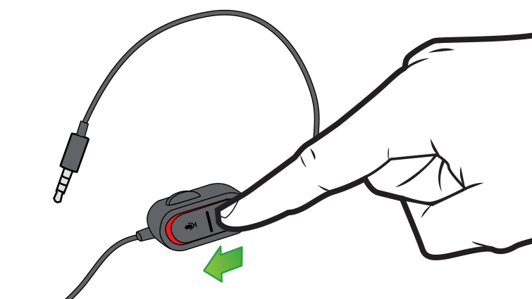 In an illustration, an arrow and finger emphasize the mute button on the audio controls on the Xbox One Chat Headset cable.