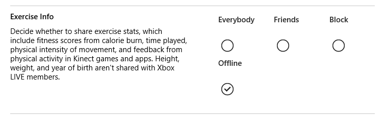 The 'Exercise Info' options are Everybody, Friends, Block and Offline, which is selected.