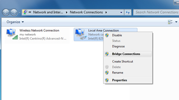 A Windows screen showing the context menu for a local area network, with the 'Bridge Connection' command selected