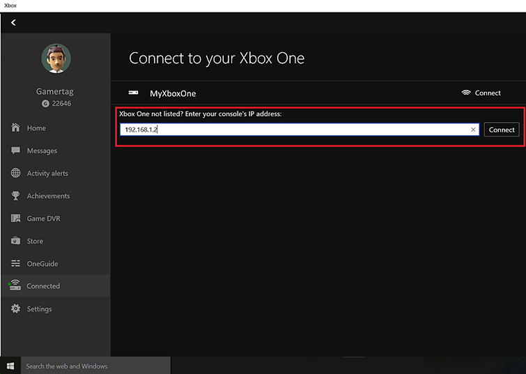 A text box labeled 'Xbox One not listed? Enter your console's IP address' is highlighted on the 'Connect to your Xbox One' screen. An IP address has been entered in the box.