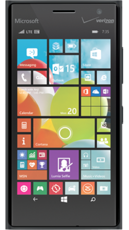 Black Lumia 735 facing forward with start screen on display