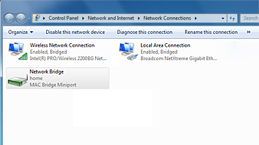 A Windows Network Connections screen shows available connections and the Network Bridge, which is selected.