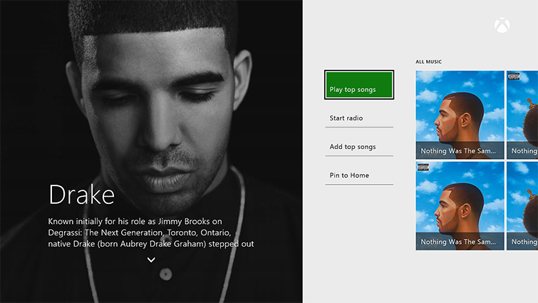 A sample artist profile screen in Groove shows information about the artist Drake