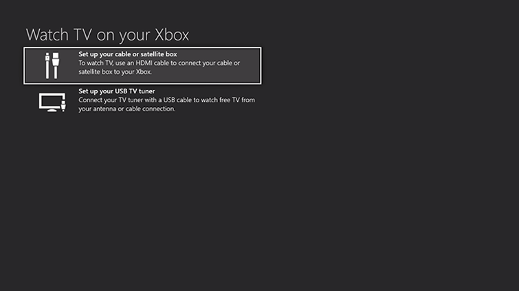The 'Watch TV on your Xbox screen', with the option to 'Set up your cable or satellite box' highlighted.
