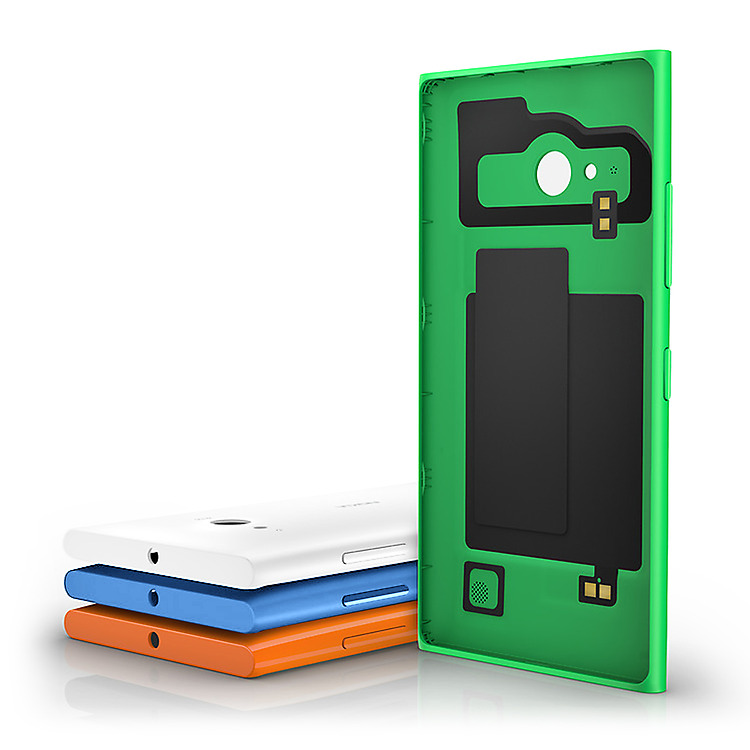 Four Lumia wireless charging cases with different color options of blue, orange, white and green