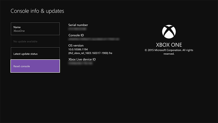 Reset Xbox One Console To Factory Defaults