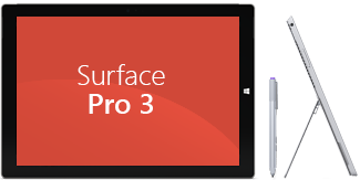 Vista anteriore e laterale di Surface Pro 3