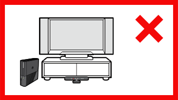 A Kinect sensor is position on the floor in front of a TV on a stand. A red 'X' is next to the image.