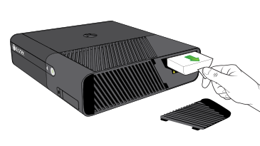 An illustration shows the Xbox 360 Hard Drive being removed from an Xbox 360 E console.