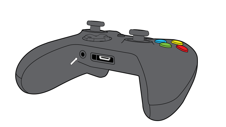 An arrow emphasizes the 3.5-mm port on the Xbox One Wireless Controller.