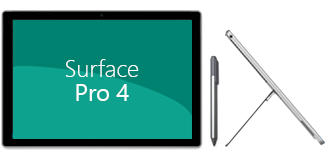 Front and side view of Surface Pro 4, plus pen