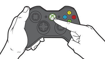A finger presses the large Guide button near the center of the Xbox controller.