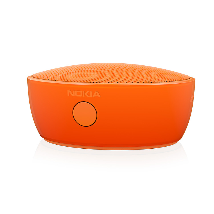 Close up of orange Nokia Portable Wireless Speaker
