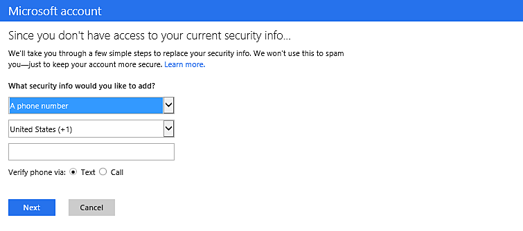 A dialog box presents options to add an email address or phone number as account security information.