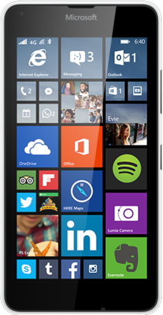 White Lumia 640 facing forward with start screen on display