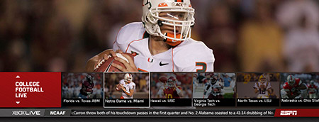 ESPN Mini Guide, My Sports, NCAAM LIVE