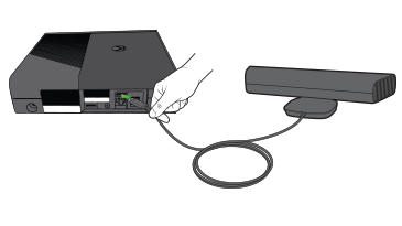 The Kinect sensor being plugged into an Xbox 360 E console.