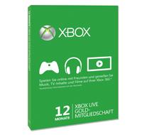 Prepaidkarte Xbox Live Goldmitgliedschaft für 12 Monate