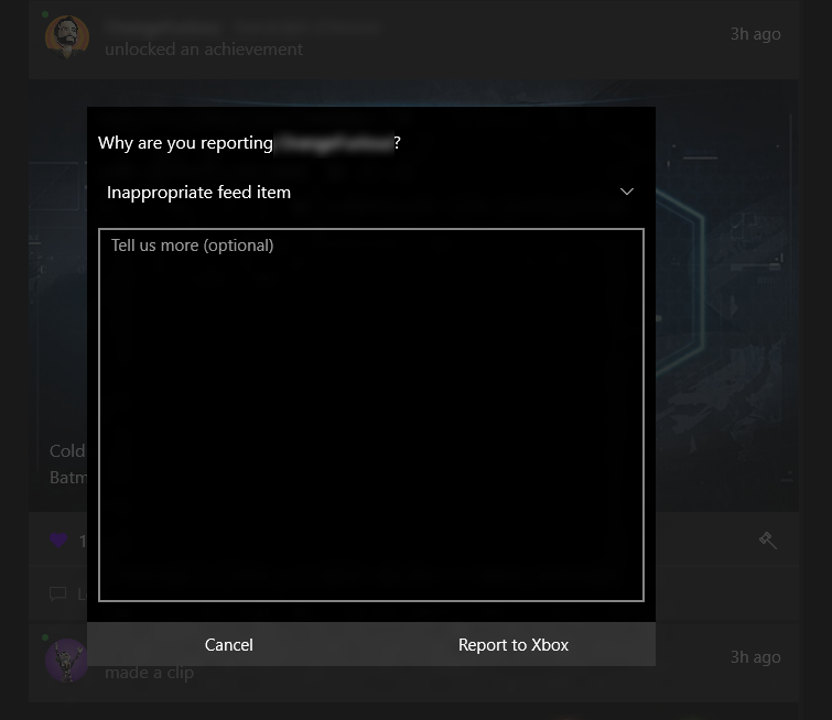 The messaging window in the Xbox app where you can report inappropriate or abusive behavior