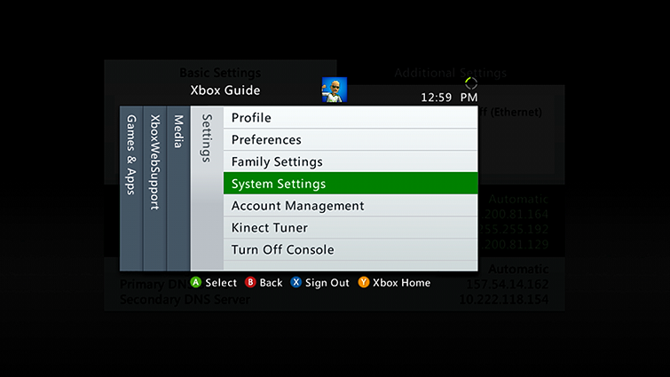 Settings-fanen i Xbox 360-guiden, der alternativet System Settings er uthevet