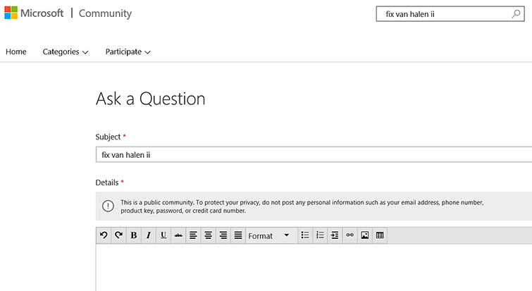 Se muestra la página 'Hacer una pregunta' con la sección línea de asunto y detalles.