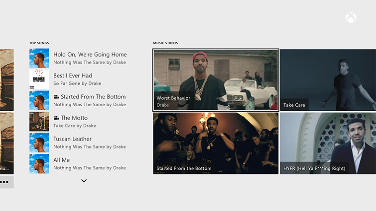 The Groove screen that shows music videos available by the artist Drake