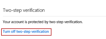 The 'Turn off' option is highlighted on the two-step verification screen.