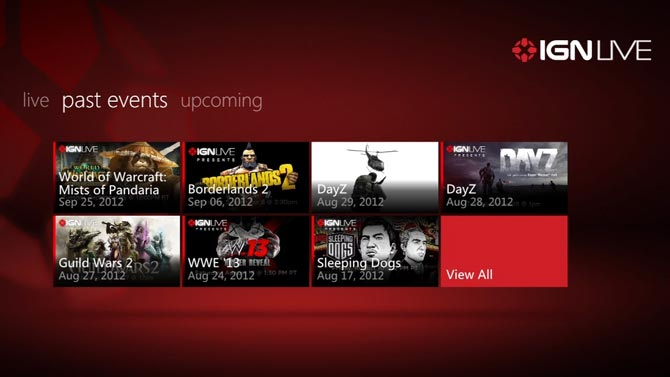 IGN LIVE screen on Xbox360