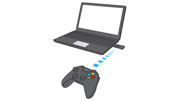 In a drawing, a dotted line shows an Xbox controller communicating with a laptop computer via the Xbox Wireless Adapter for Windows