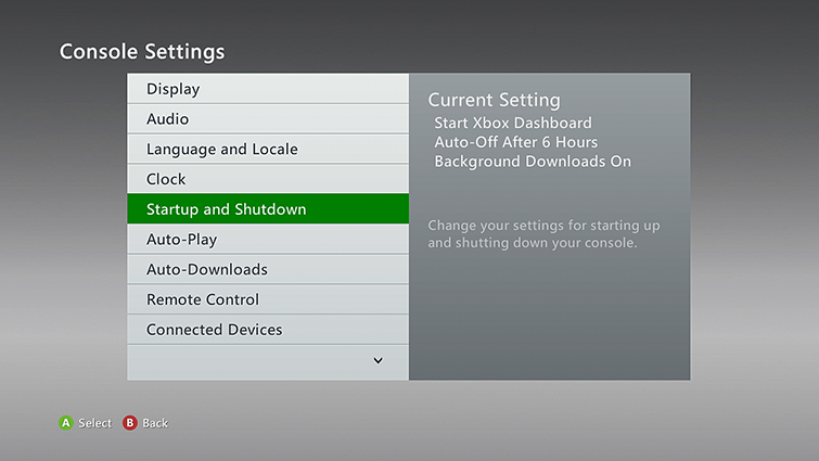 Console Settings-skjermen, der Startup and Shutdown er valgt.