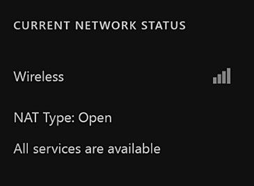 The central portion of the Network settings screen displays the connection type, which is wireless or wired, the NAT type and whether Xbox Live services are available.