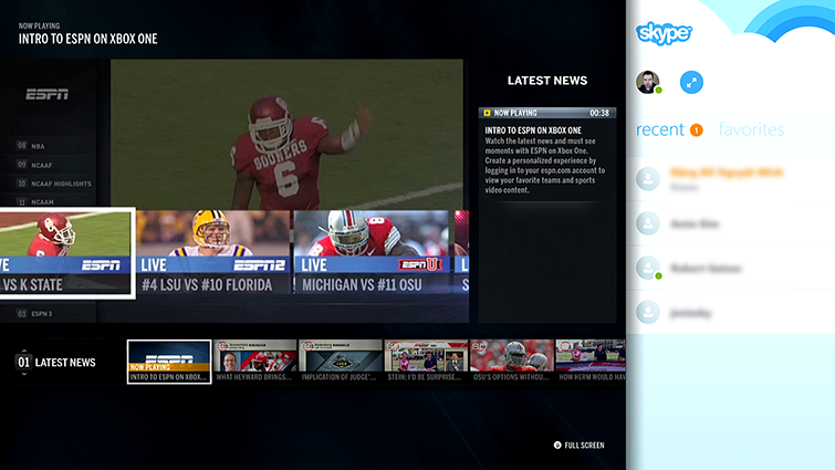 A screen shot shows the Skype app snapped to another open app, which is ESPN on Xbox One. Skype is in a panel on the right side.