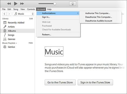 Menu Compte ouvert dans iTunes, avec l'option Autorisations en surbrillance et un menu volant donnant accès aux commandes d'autorisation et de retrait d'autorisation