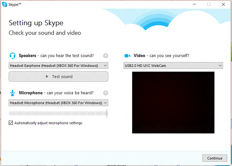 The Skype 'Check your sound and video' screen, with the 'Automatically adjust microphone settings' check box selected
