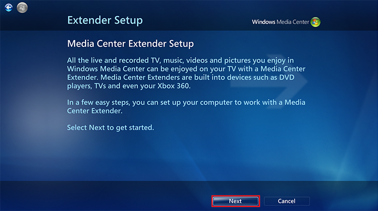 "Select ""Next"" on the Extender Setup screen."